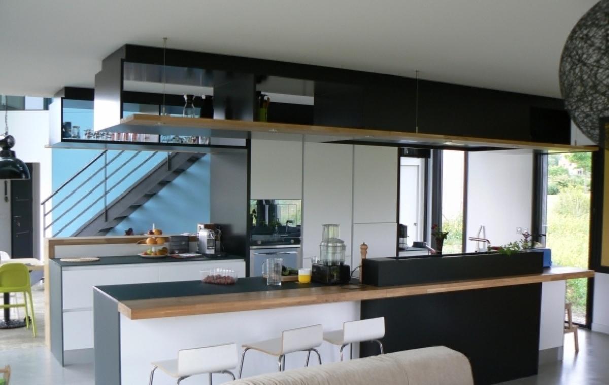 Exemple Aménagement Cuisine exemple d'aménagement cuisine blanche et noir anthracite - cuisines
